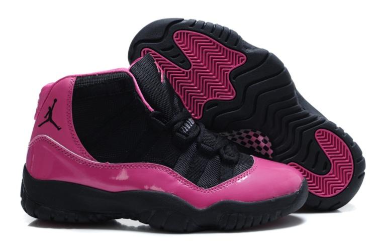 Jordan 11 Women Shoes black and red-10