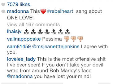 Madonna IG rebel heart comments