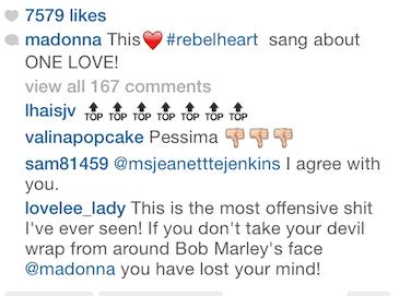 Madonna IG rebel heart comments