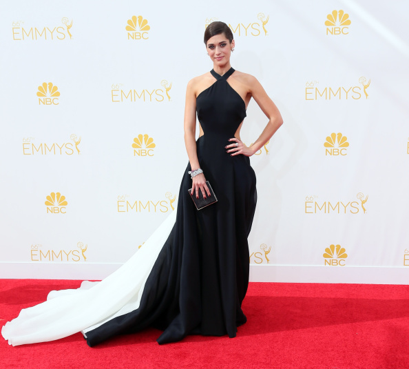 LOS ANGELES, CA - AUGUST 25:  Actress Lizzy Caplan attends the 66th Annual Primetime Emmy Awards at the Nokia Theatre L.A. Live on August 25, 2014 in Los Angeles, California.  (Photo by David Livingston/Getty Images)