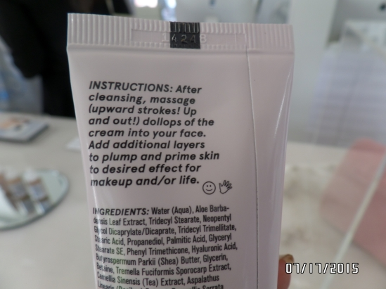 Back label of a Glossier product