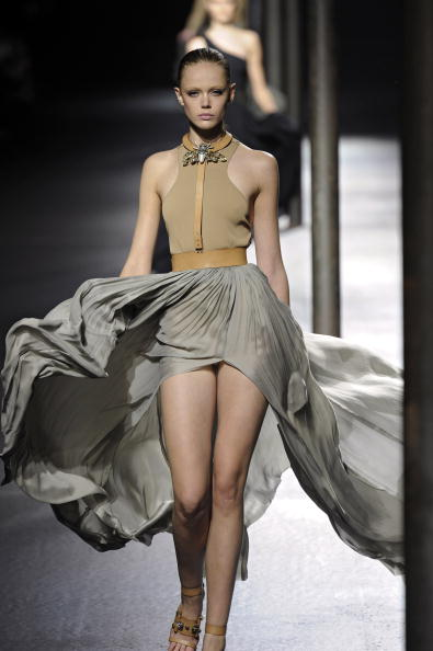 PARIS - OCTOBER 01: A model walks the runway at the Lanvin fashion show during Paris Fashion Week on October 1, 2010 in Paris City. (Photo by Chris Moore/Catwalking/Getty Images)