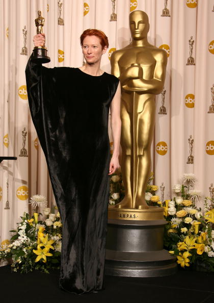 HOLLYWOOD - FEBRUARY 24: Actress Tilda Swinton poses in the press room during the 80th Annual Academy Awards at the Kodak Theatre on February 24, 2008 in Los Angeles, California. (Photo by Steve Granitz/WireImage)