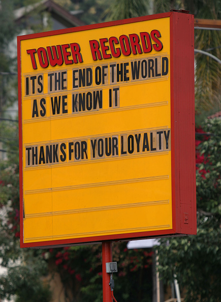 Sign at the Tower Records store on Sunset Blvd. Monday in West Hollywood October 09, 2006. Tower Records was sold last week to a liquidator. (Photo by Richard Hartog/Los Angeles Times via Getty Images)