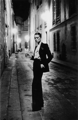 model Vibeke modeling YSL in 1975. Photographed by Helmut Newton.